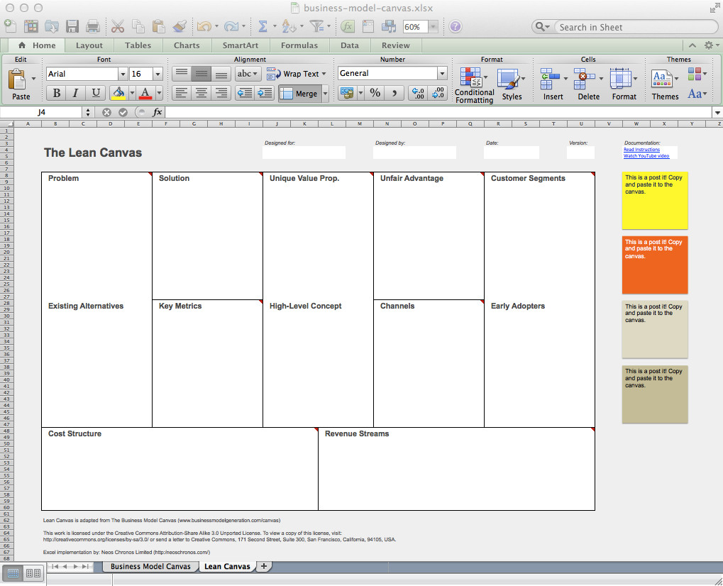 Business Model Canvas Template Excel Business Model Canvas and Lean Canvas Templates