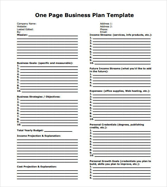 Business One Sheet Template 10 E Page Business Plan Samples