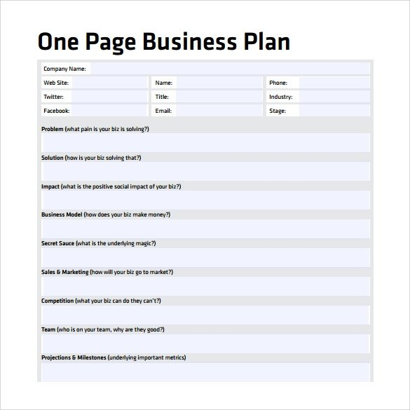 Business One Sheet Template E Page Business Plan Sample 10 Documents In Pdf Word