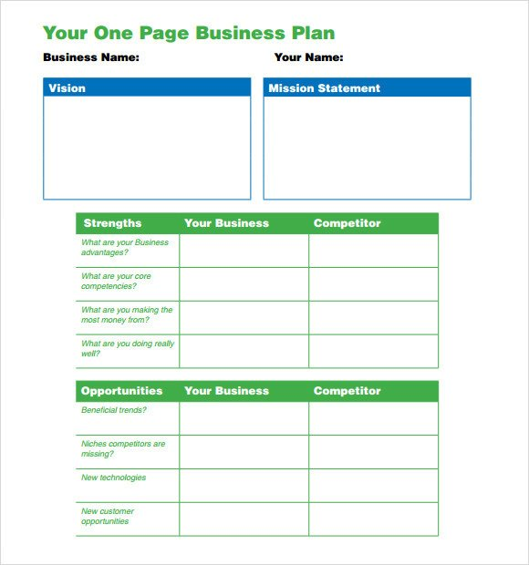 Business One Sheet Template E Page Business Plan Template 10 Download Free