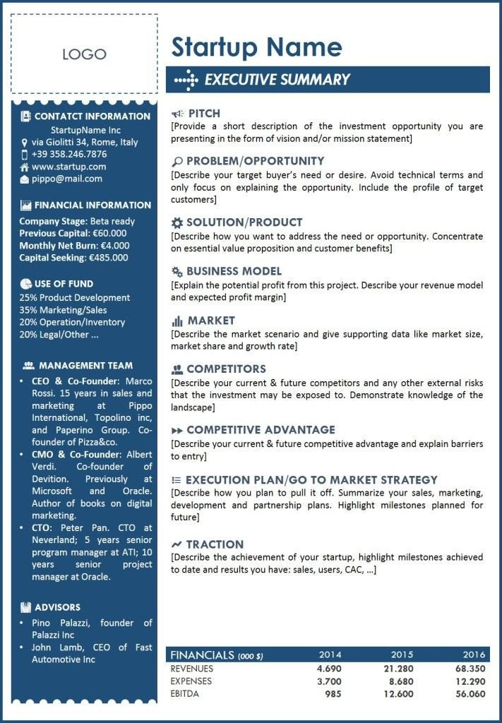 Business One Sheet Template Executive Summary Template 2 … Templates