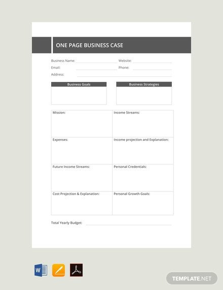 Business One Sheet Template Free E Page Business Case Template Download 91 Notes