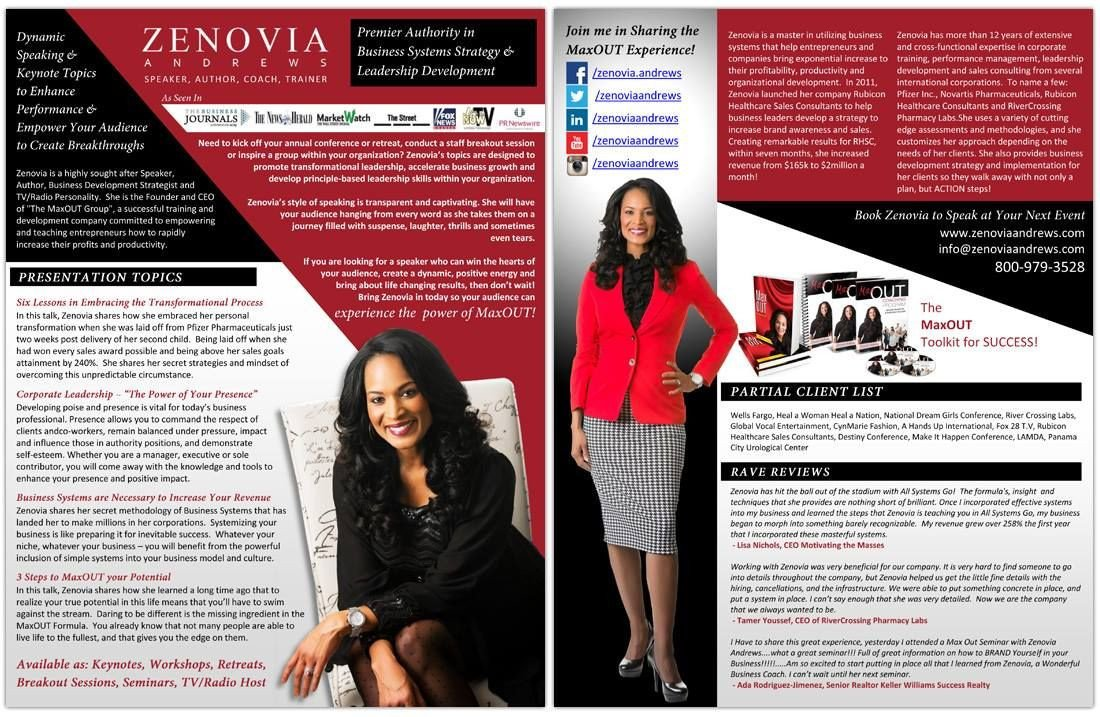 Business One Sheet Template Speaker E Sheet Design for Zenovia andrews