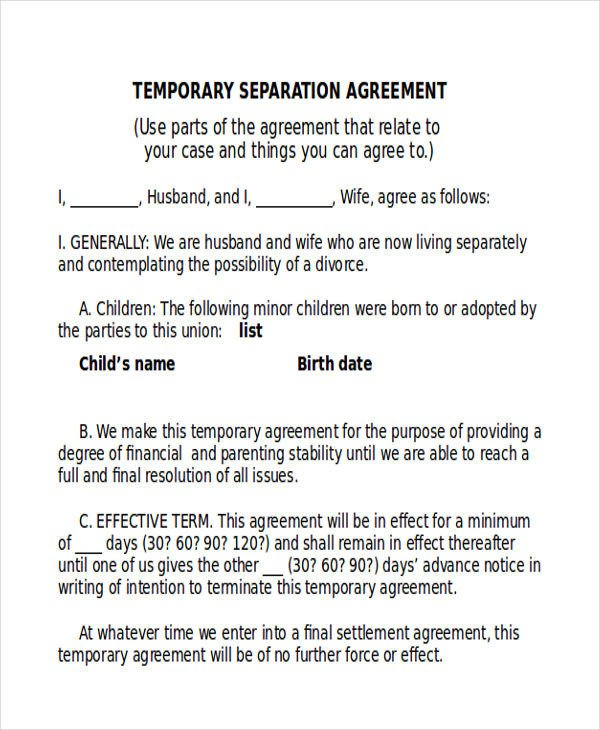 Business Partnership Separation Agreement Template 12 Sample Separation Agreements Free Sample Example