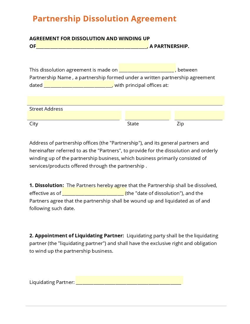Business Partnership Separation Agreement Template 21 Useful Business Partnership Separation Agreement