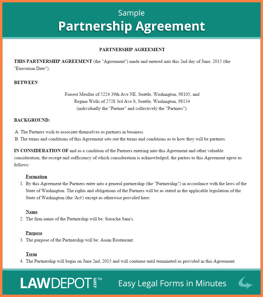 Business Partnership Separation Agreement Template 5 Mon Law Separation Agreement Template Bc
