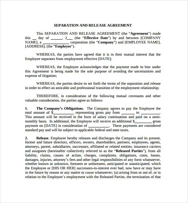 Business Partnership Separation Agreement Template 6 Business Separation Agreements
