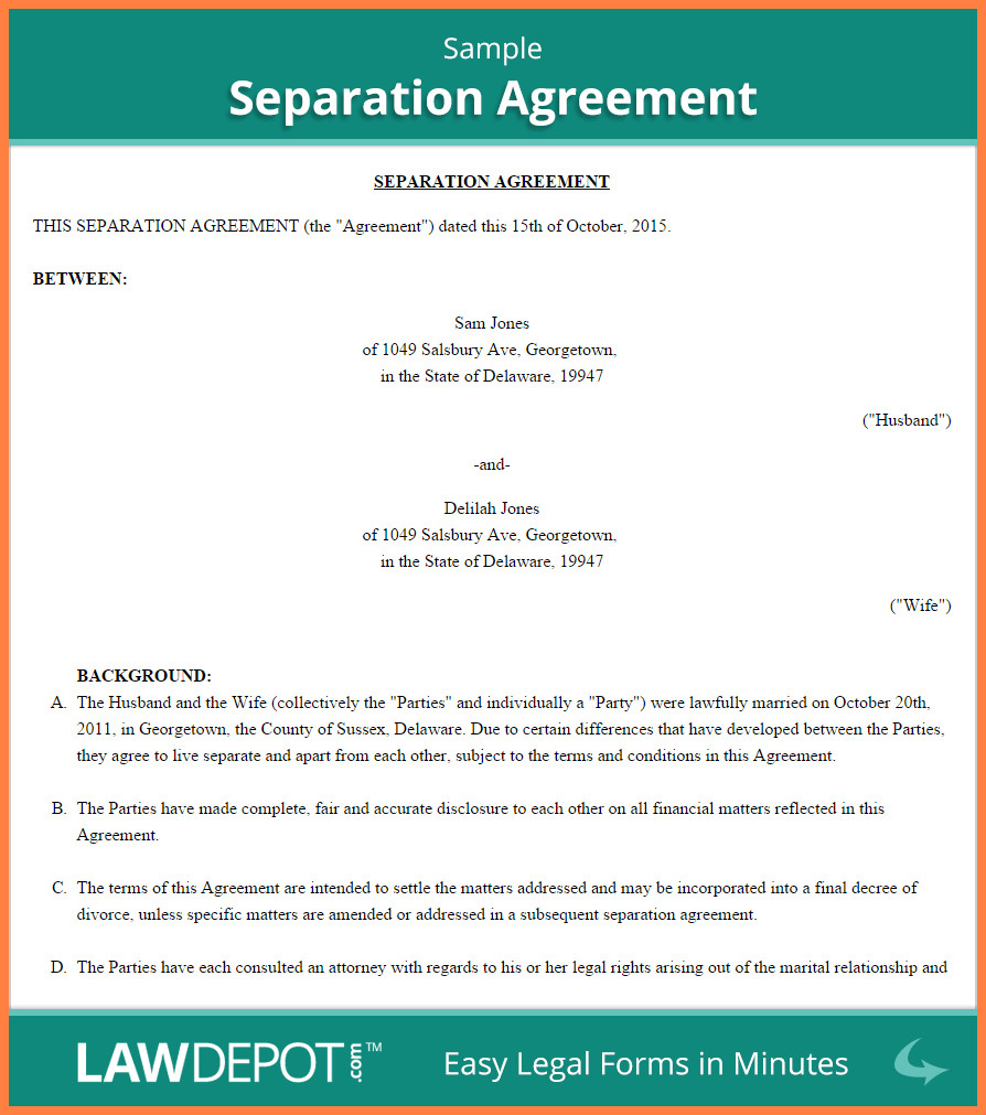 Business Partnership Separation Agreement Template 6 Mon Law Separation Agreement Template