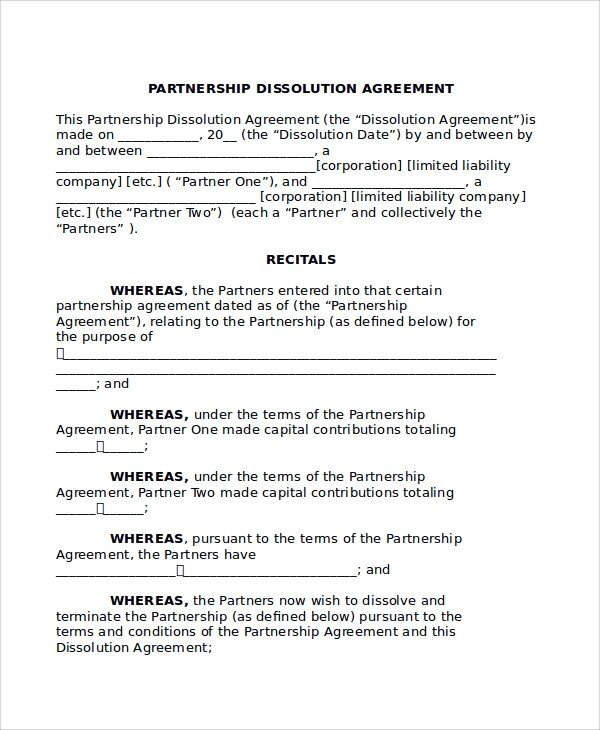 Business Partnership Separation Agreement Template 8 Partnership Dissolution Agreement Templates