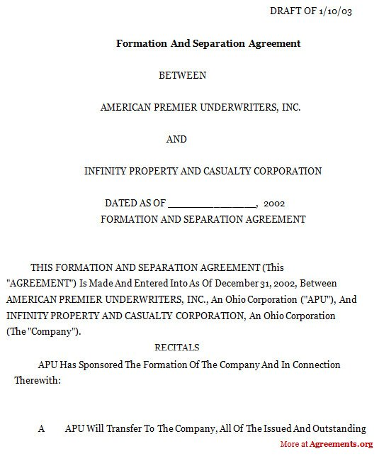 Business Partnership Separation Agreement Template formation and Separation Agreement Download Pdf