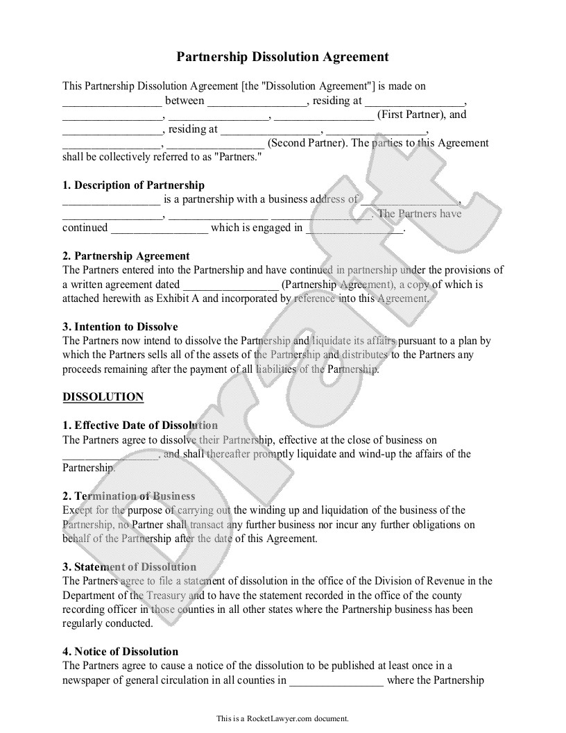 Business Partnership Separation Agreement Template Partnership Dissolution Agreement form with Sample