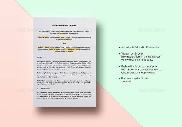 Business Partnership Separation Agreement Template Sample Business Separation Agreement Template 9 Free