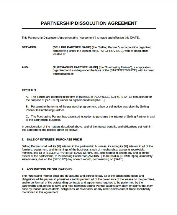 Business Partnership Separation Agreement Template Sample Partnership Dissolution Agreement Templates 7