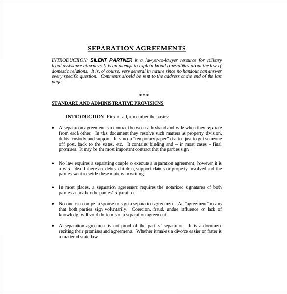 Business Partnership Separation Agreement Template Separation Agreement Template – 14 Free Word Pdf