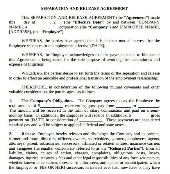 Business Partnership Separation Agreement Template Separation Agreement Template 8 Download Free Documents