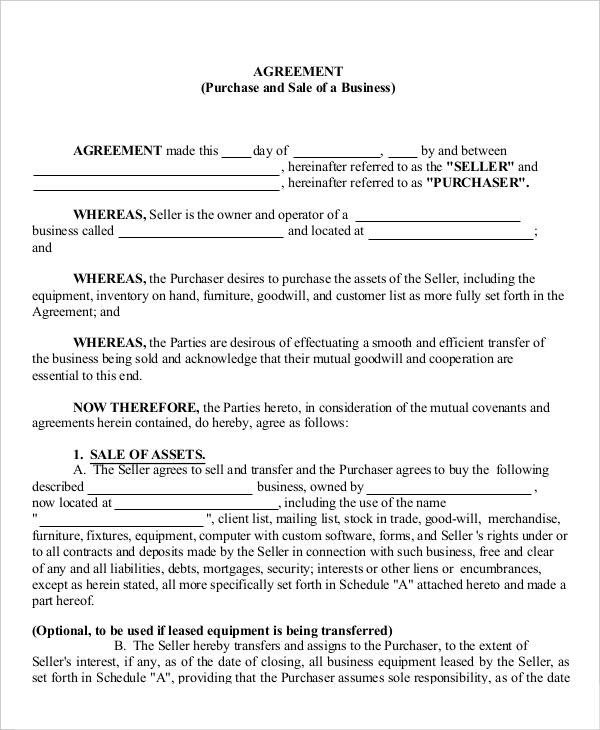 Business Purchase Agreement Template 16 Business Agreement Templates Word Pages Pdf