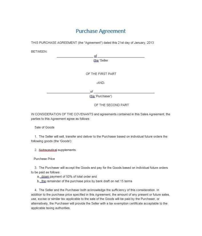 Business Purchase Agreement Template 37 Simple Purchase Agreement Templates [real Estate Business]