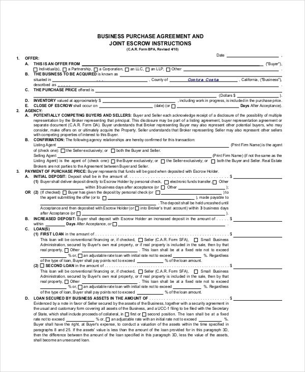 Business Purchase Agreement Template 47 Basic Agreement forms Word Pdf