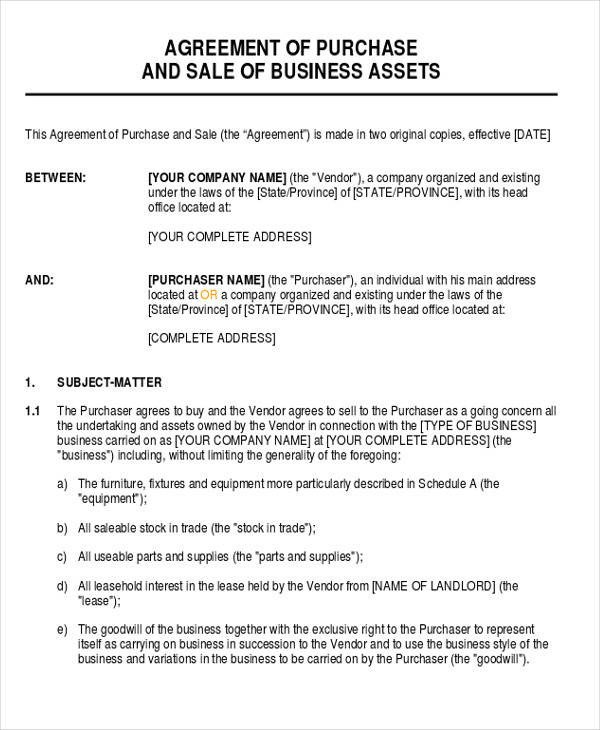 Business Purchase Agreement Template Business Agreement form