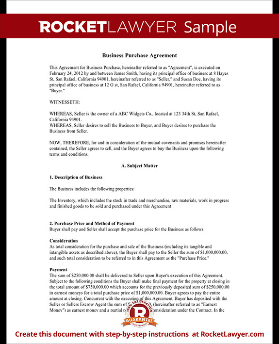Business Purchase Agreement Template Business Purchase Agreement Contract form with Template