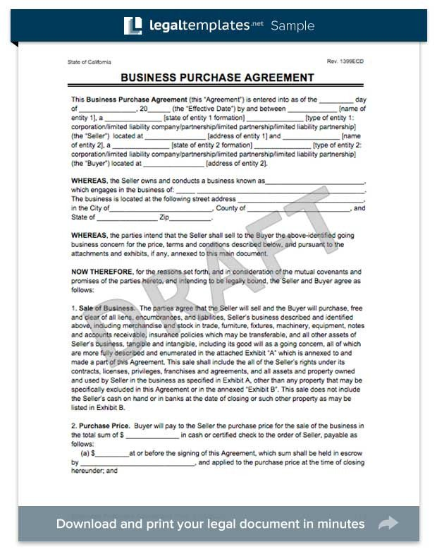 Business Purchase Agreement Template Create A Business Purchase Agreement