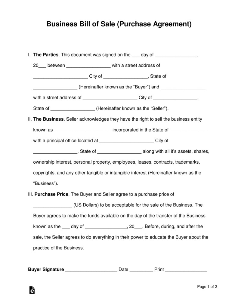Business Purchase Agreement Template Free Business Bill Of Sale form Purchase Agreement