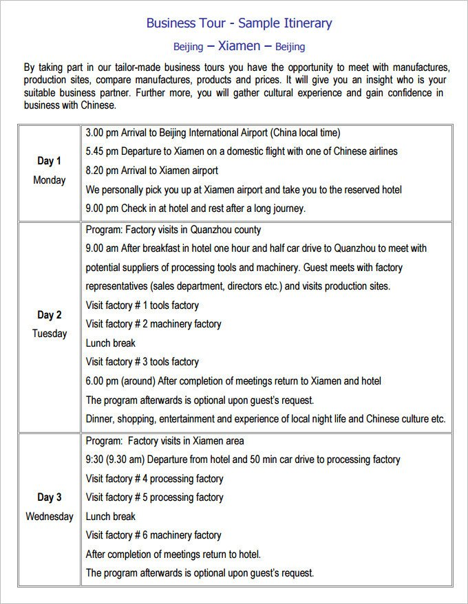 Business Travel Itinerary Template 13 Business Travel Itinerary Template Word Excle Pdf
