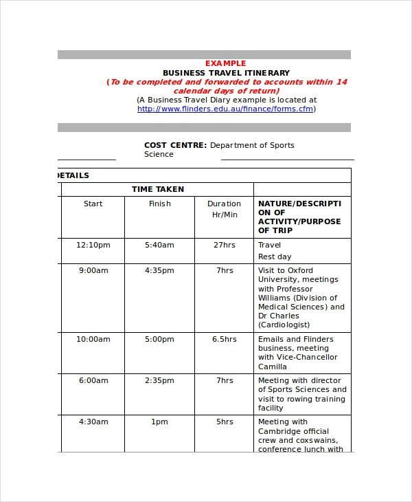 Business Travel Itinerary Template 9 Itinerary Templates Free Sample Example format
