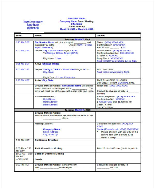 Business Travel Itinerary Template 9 Travel Itinerary Templates Free Word Pdf format