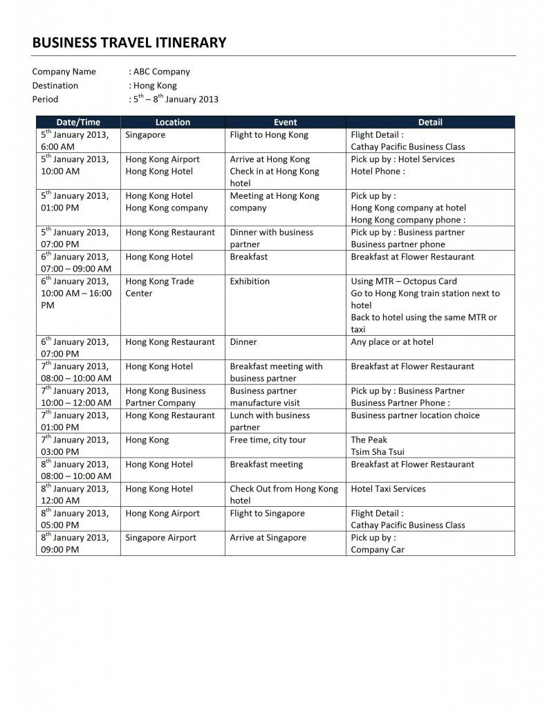 Business Travel Itinerary Template Business Travel Itinerary Template