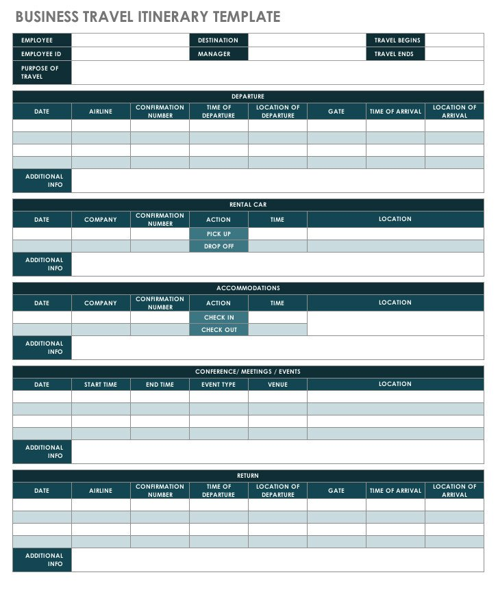 Business Travel Itinerary Template Free Itinerary Templates