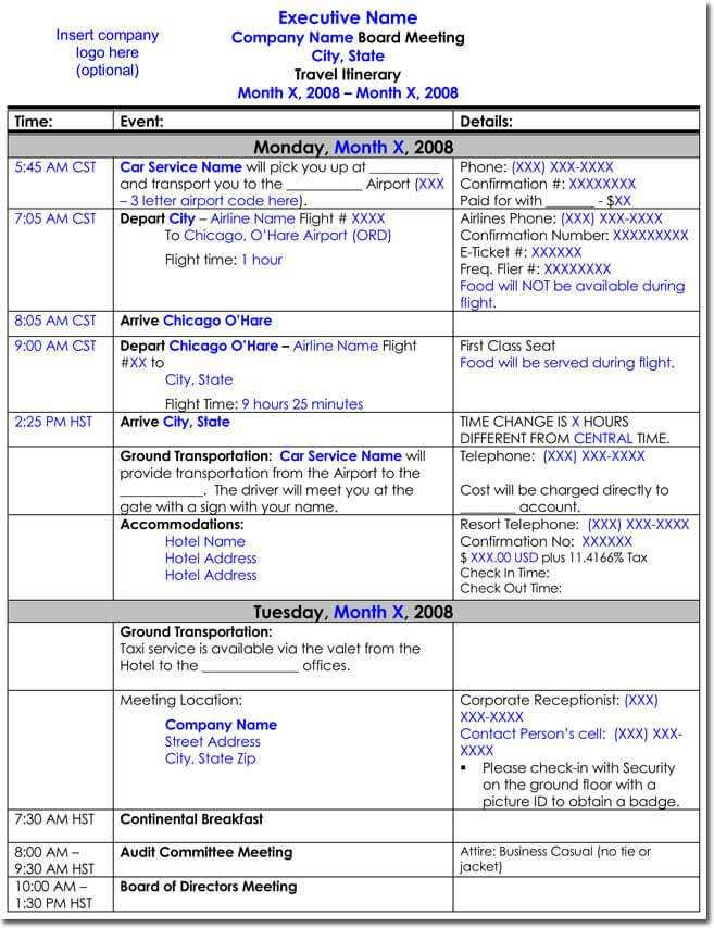 Business Travel Itinerary Template Free Itinerary Templates to Perfectly Plan Your Trips
