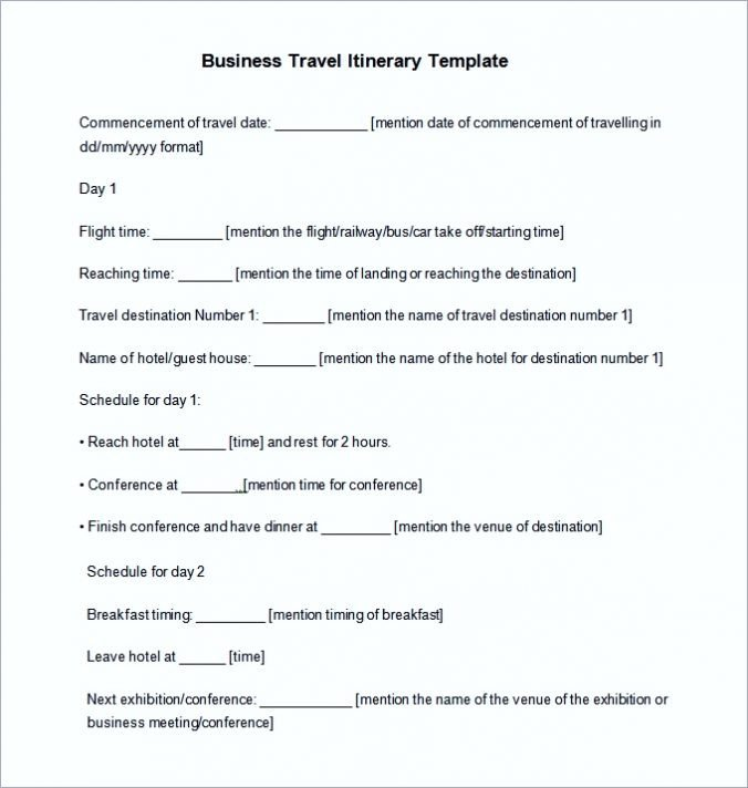 Business Travel Itinerary Template Free Trip & Business Travel Itinerary Template