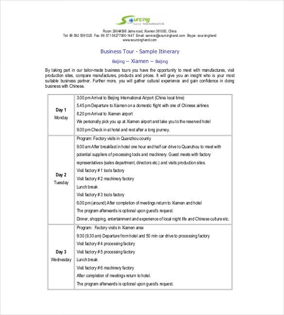 Business Travel Itinerary Template Itinerary Template – 15 Free Word Excel Pdf Documents