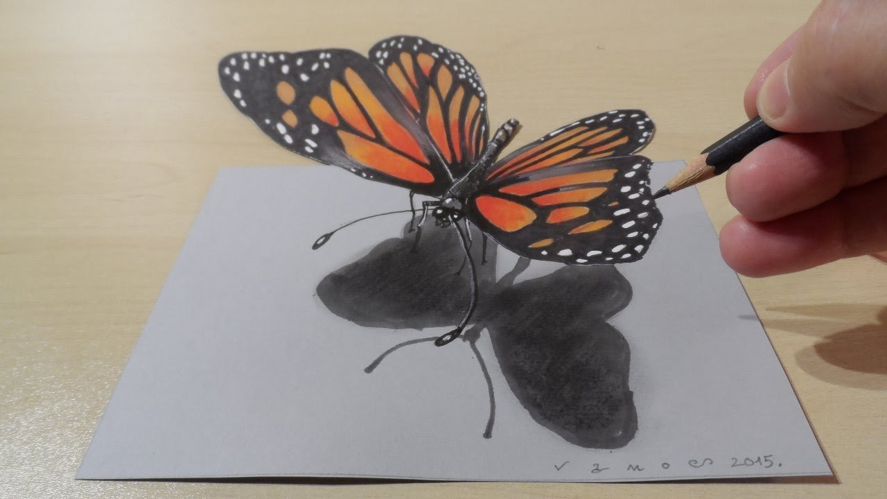 Butterfly Drawings In Pencil Drawing butterfly How to Draw 3d butterfly Magical Art