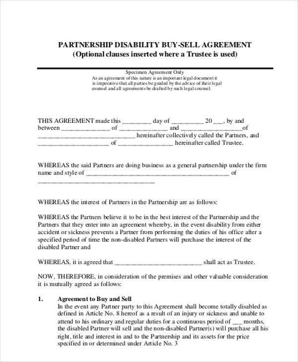 Buy Sell Agreements forms 11 Partnership Agreement form Samples Free Sample