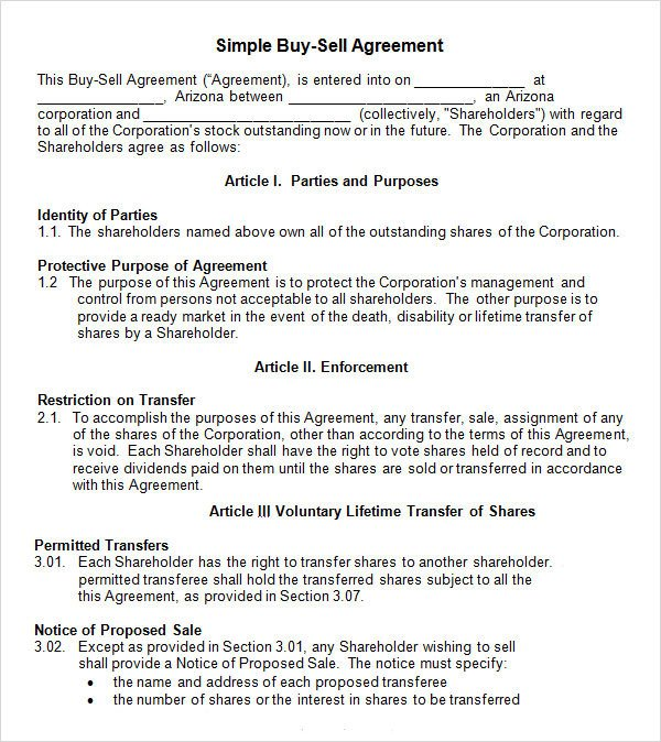 Buy Sell Agreements forms 20 Sample Buy Sell Agreement Templates Word Pdf Pages