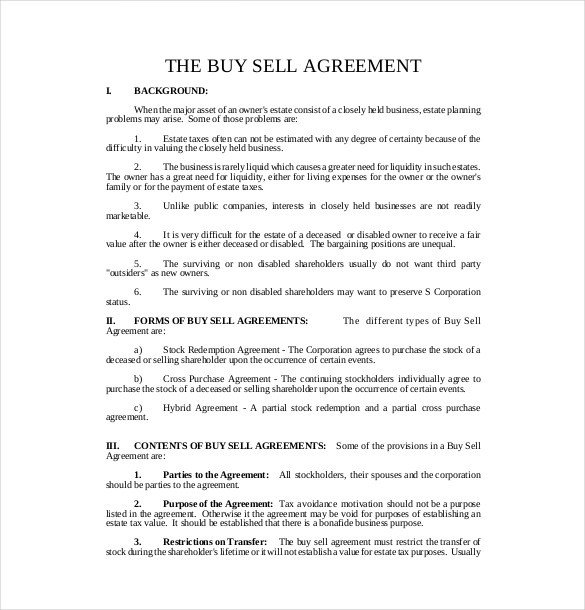 Buy Sell Agreements forms 25 Buy Sell Agreement Templates Word Pdf