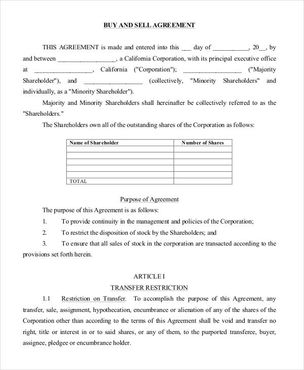 Buy Sell Agreements forms 8 Sample Buy Sell Agreement forms Word Pdf Pages