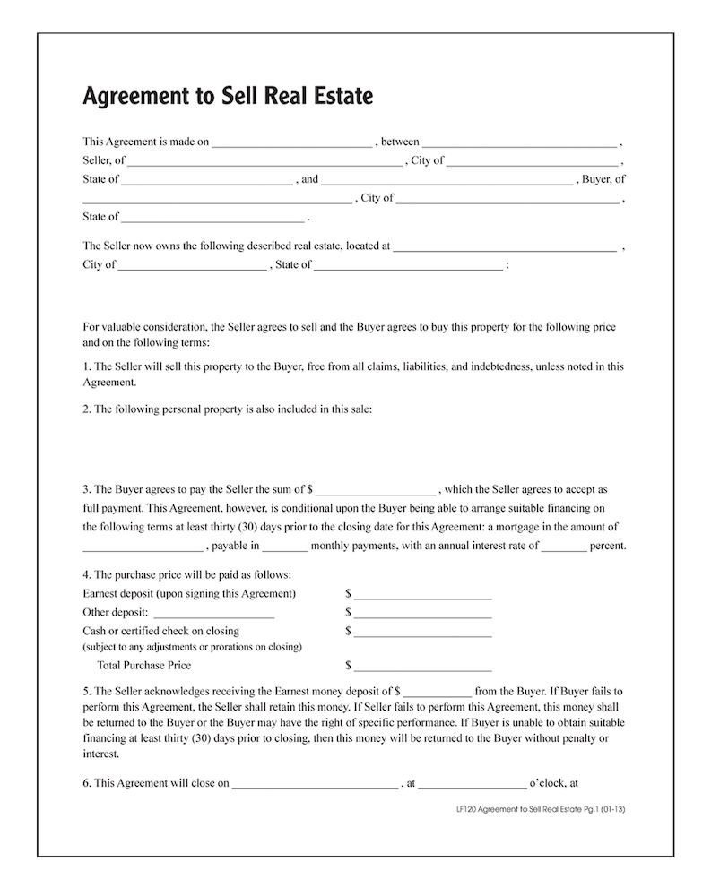 Buy Sell Agreements forms Agreement to Sell Real Estate forms and Instructions