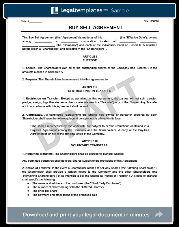Buy Sell Agreements forms Buy Sell Agreement Template