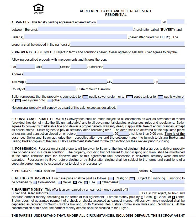 Buy Sell Agreements forms Charleston Real Estate