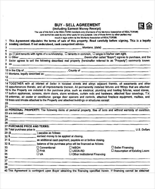 Buy Sell Agreements forms Printable Agreement Samples