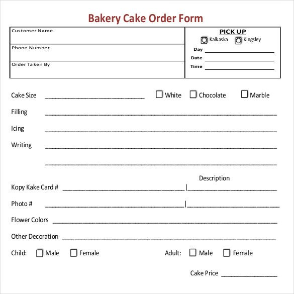 Cake order form Templates 16 Bakery order Templates Google Docs Pages