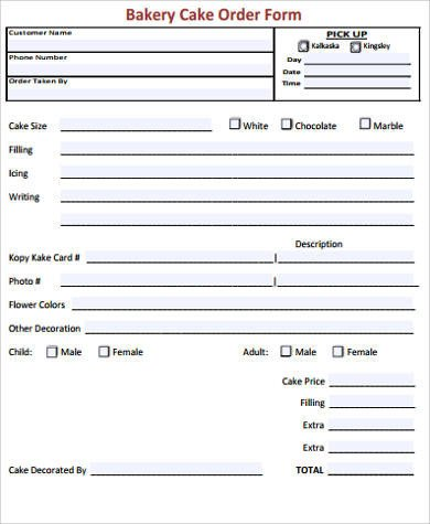 Cake order form Templates 7 Cake order form Sample 7 Examples In Word Pdf