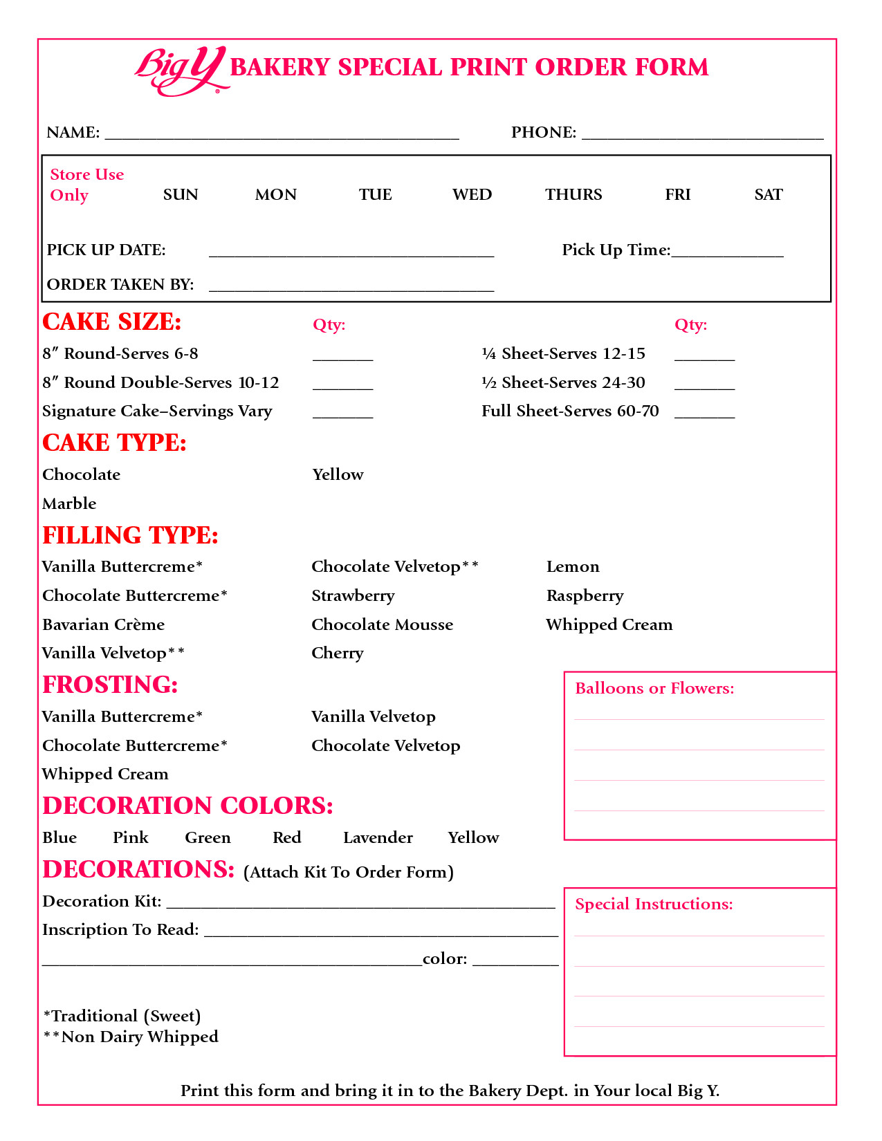 Cake order form Templates Cake order form Google Search