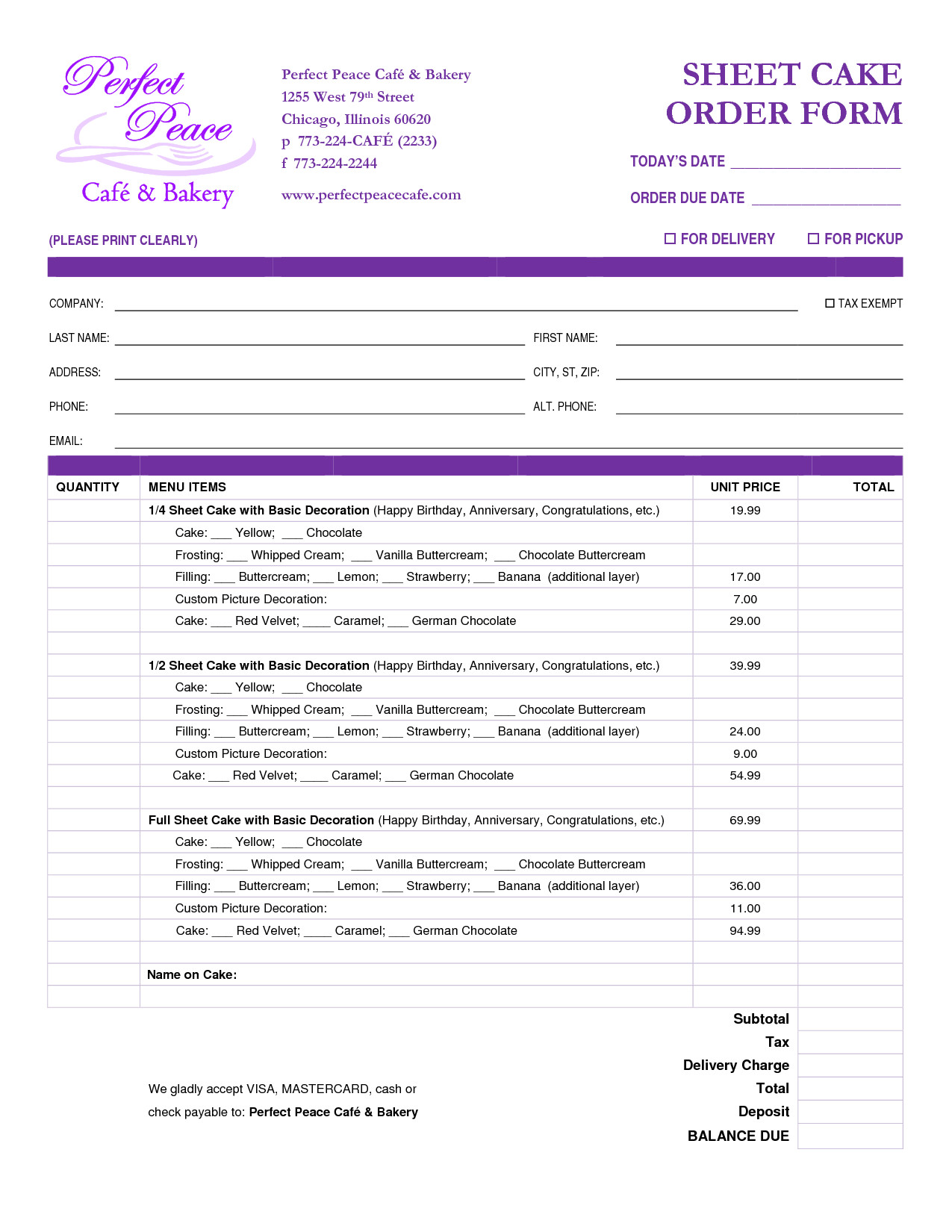 Cake order form Templates Cake order form Template Free Google Search
