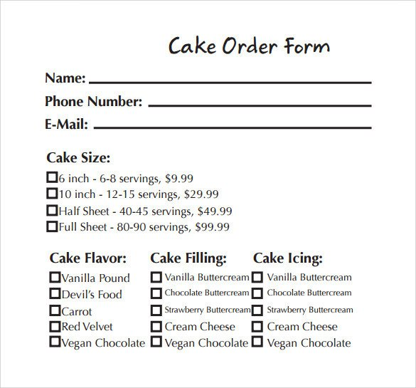 Cake order form Templates Sample Cake order form Template 13 Free Documents