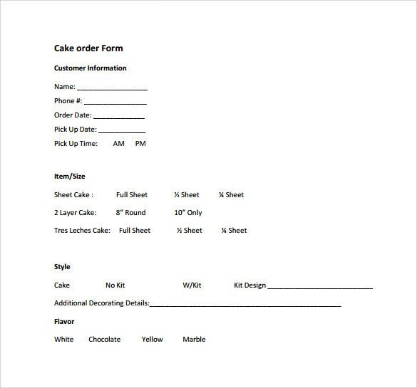Cake order form Templates Sample Cake order form Template 16 Free Documents