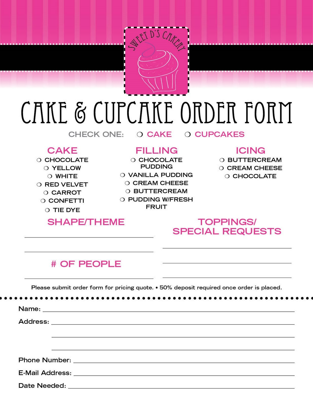 Cake order form Templates Sweet D S Cakery Download Our order form Here